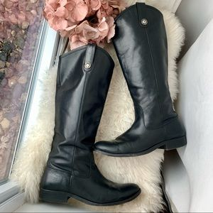 FRYE Melissa Button Black Tall Shaft Leather Boot